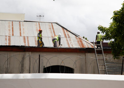 The roof being fixed in November 2020